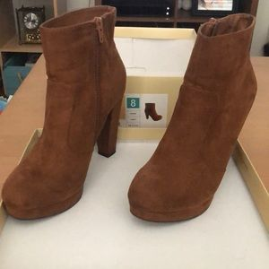 Brown suede booties size 8